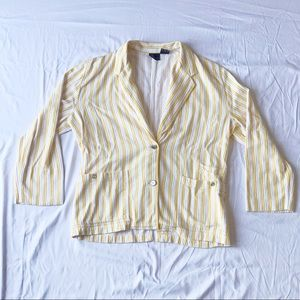 Yellow and White Stripe Blazer